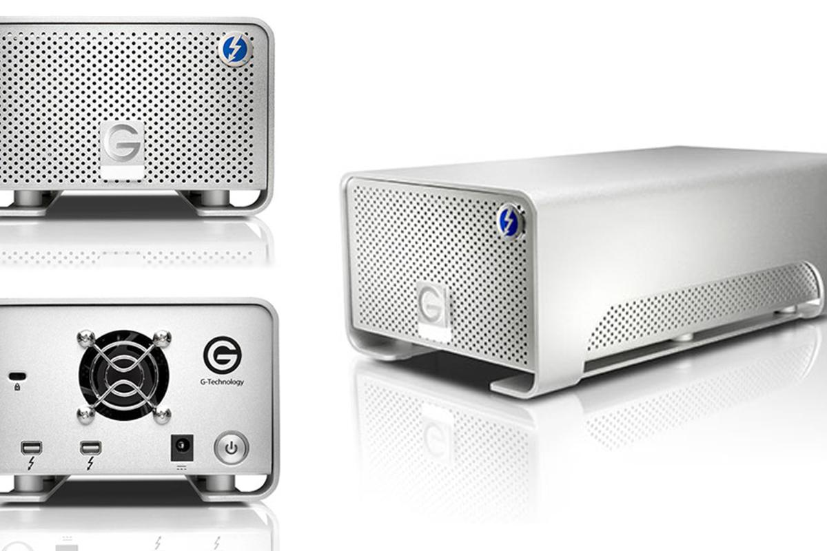 G-RAID with Thunderbolt offers two Thunderbolt ports to enable daisy-chaining of up to six Thunderbolt peripherals