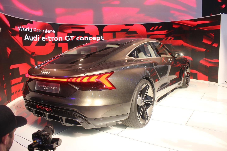 The Audi e-tron GT concept on display at the LA Auto Show