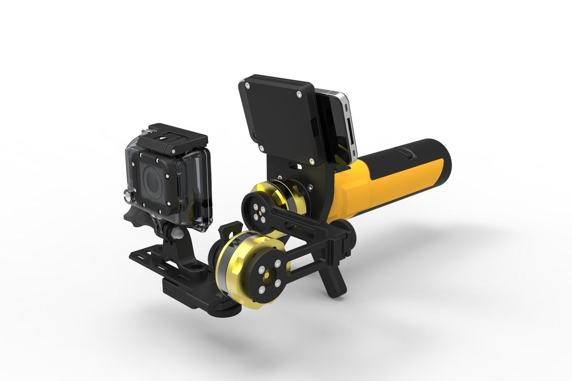 Mockup of the Gyromatic Go2X Gimbal Stabilizer for the GoPro