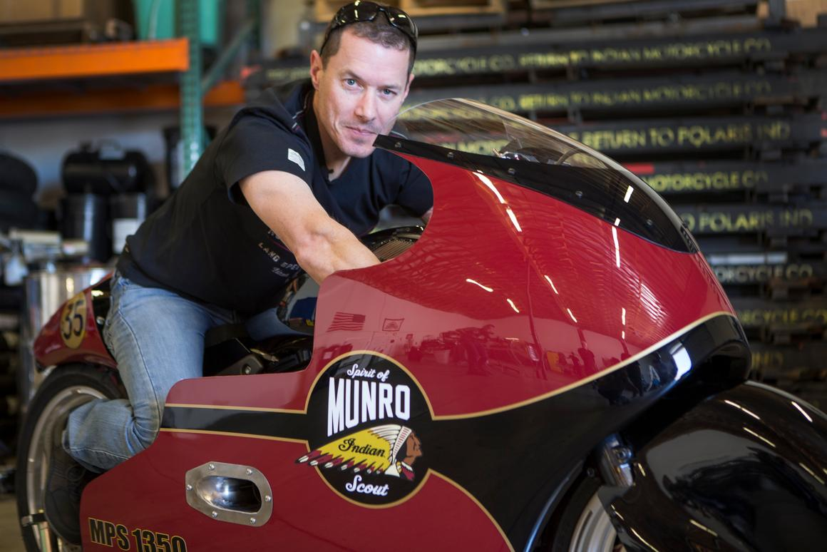 Lee Munro will pilot the Indian Scout Streamliner at Bonneville Salt Flats in August