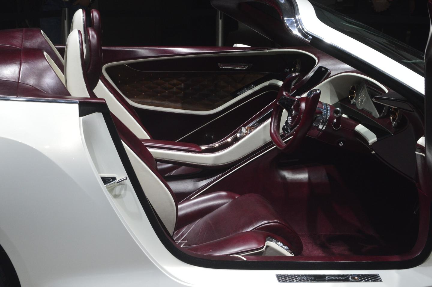 The cabin of the EXP 12 Speed 6e is beautiful in plum leather