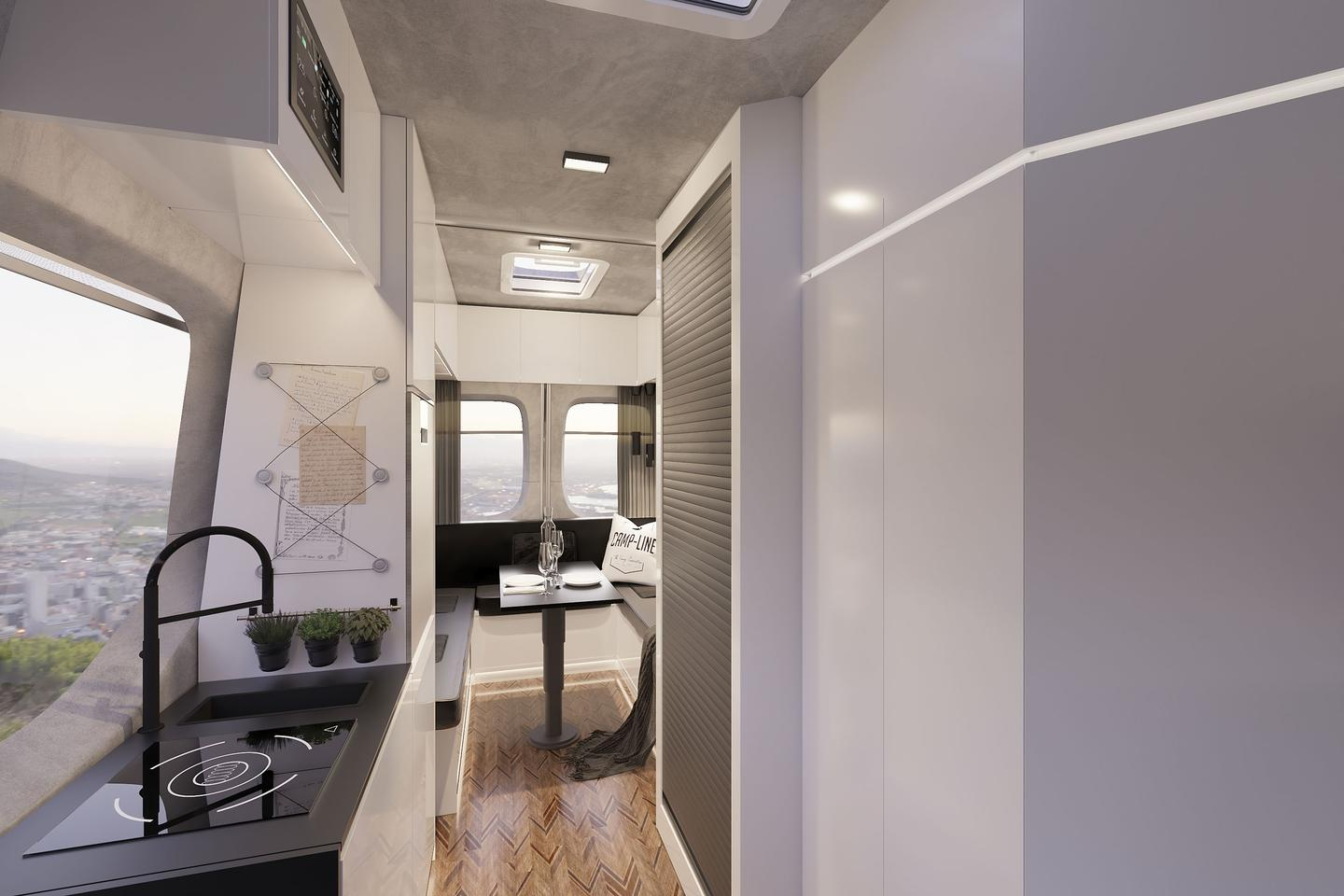 The Sprinter-based Lounge shown in Camp-Line's official photos show a slightly different look and layout