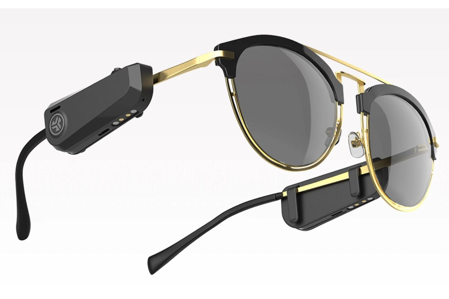 The JBuds Frames clip onto any sunglasses or eyeglasses and direct audio to the wearer's ears