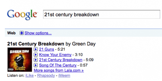 Searching for a track from Green Day's new album yields a few suggested listening choices and links to online streaming services