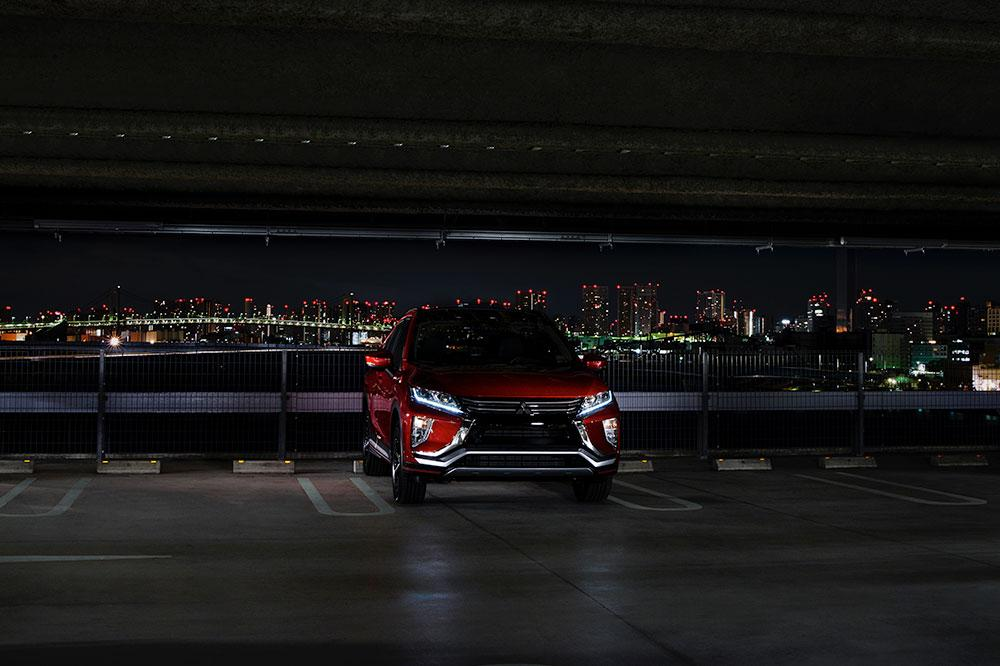 "Like Mitsubishi's recent concepts, the Eclipse Cross greets the world with a ""Dynamic Shield"" face"