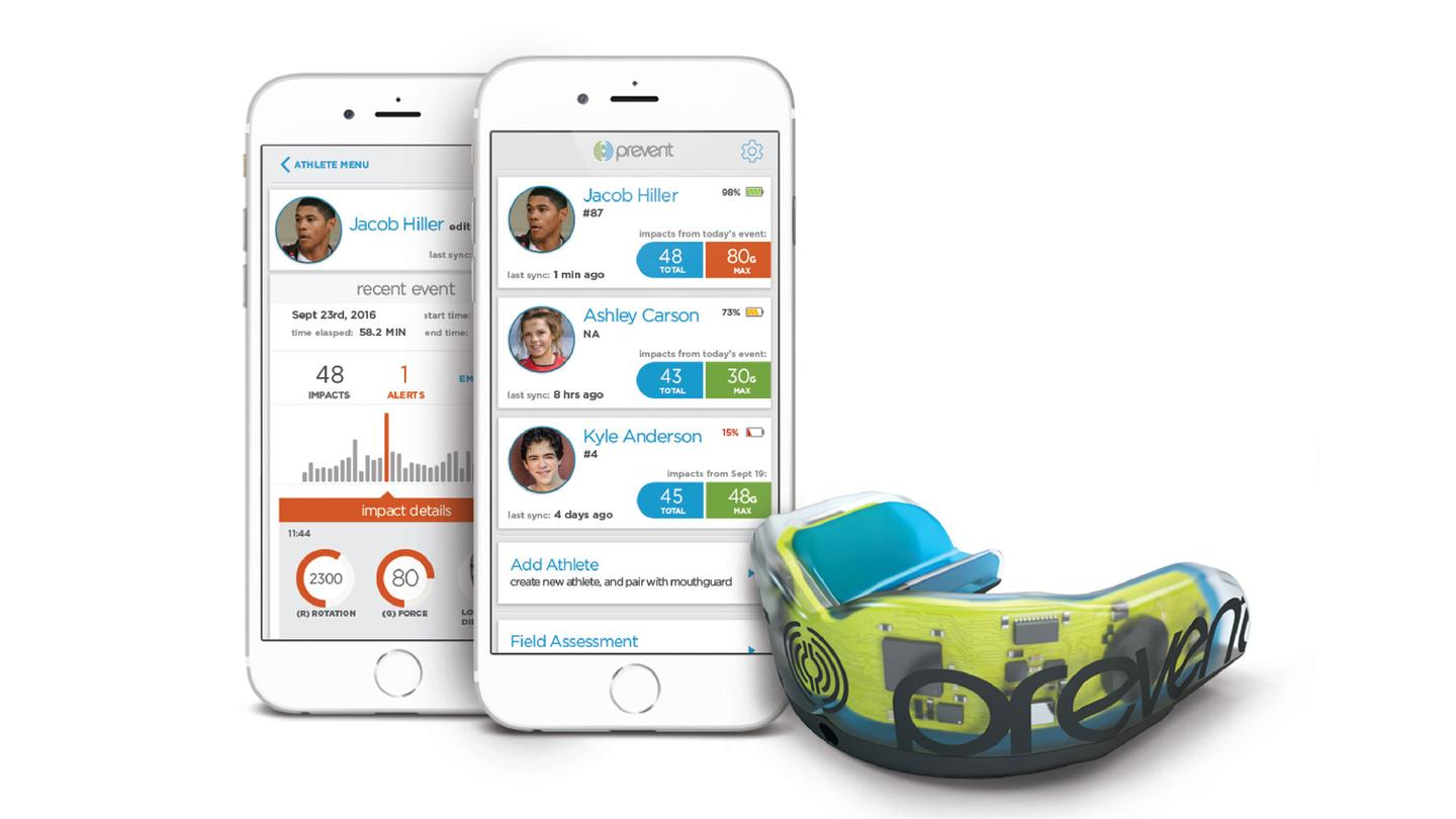 A developmental version of the head impact-monitoring mouthguard, with its companion iOS app