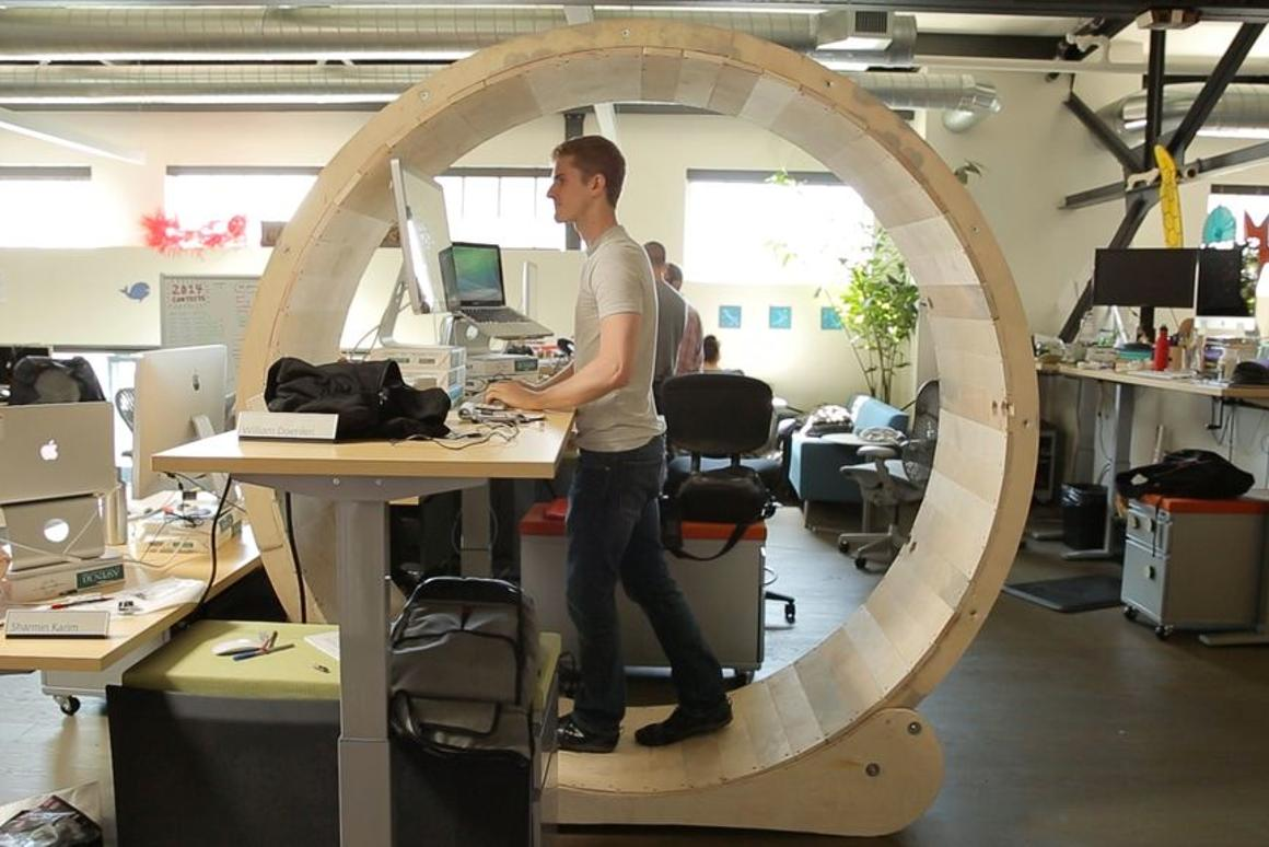 Robb Godshaw's Hamster Wheel Standing Desk is a new take on exercising at the office