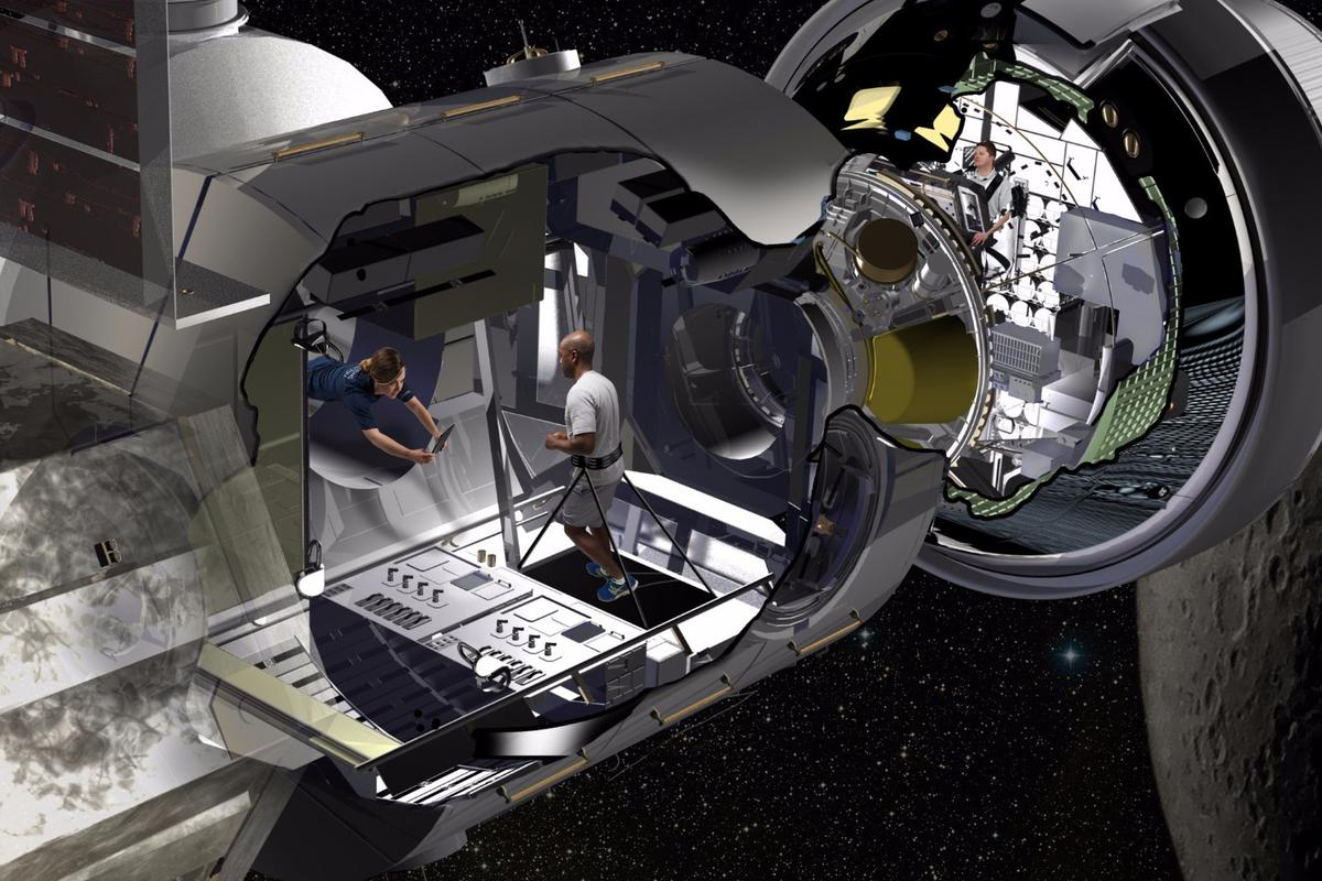 Artist's conceptof the NextSTEP habitat docked with Orion in cislunar orbit