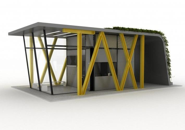 The full-sized TAXI station would feature the lettering down one side, showing clearly what the building is for