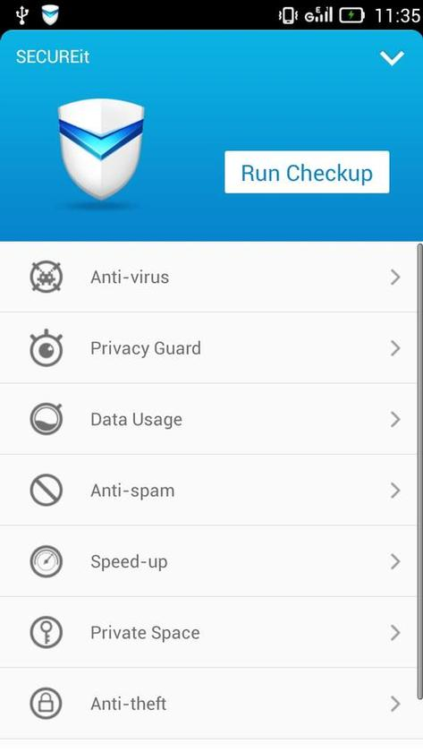 The SECUREit app protects against malware and viruses, and locks down personal information in the event of loss or theft