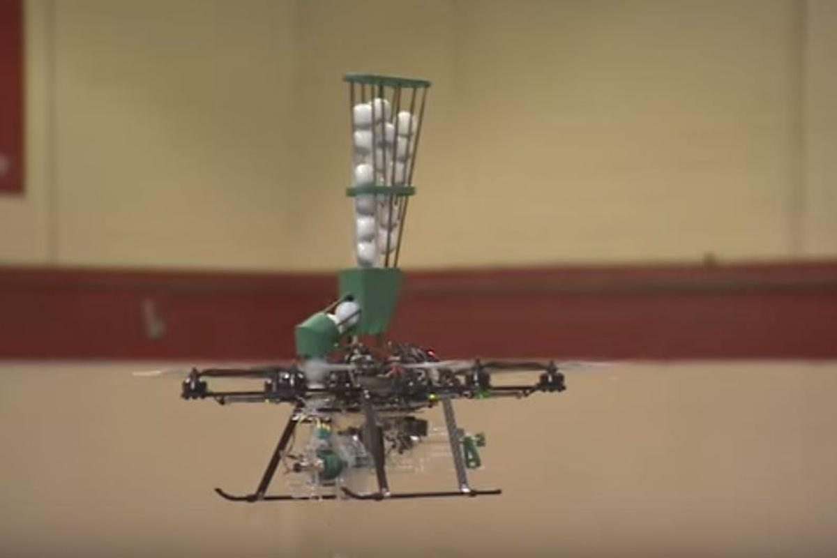The fire-starting drone during an indoor test