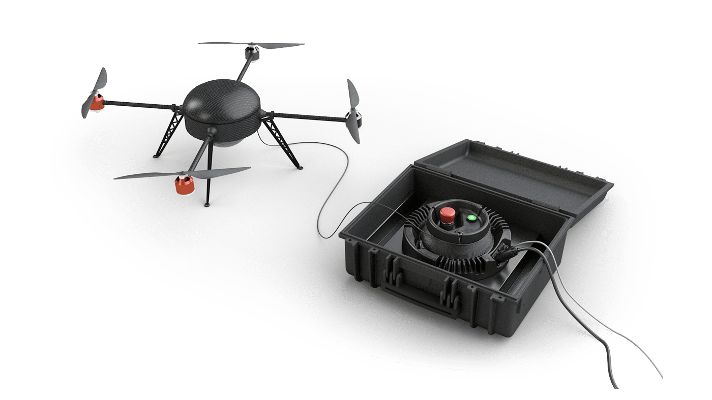 Elistair's ground stationshook up to multicopters to provide them with data transfer and continuous power