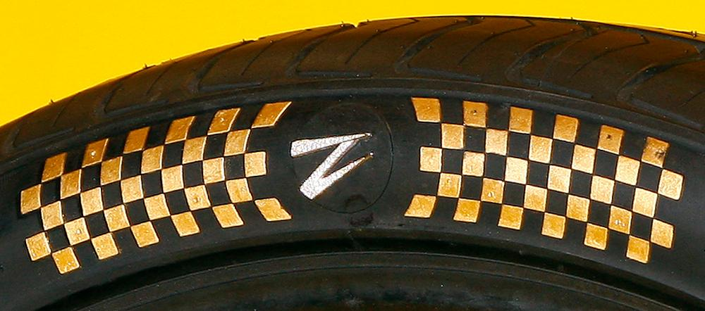 "The design combines a set of Z Tyre's own tires with ""specially selected"" diamond stones and 24-karat gold leaf"