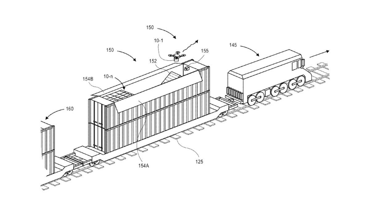 Amazon has been awarded a patent for drone maintenance facilitiesthat could be carried around on trains