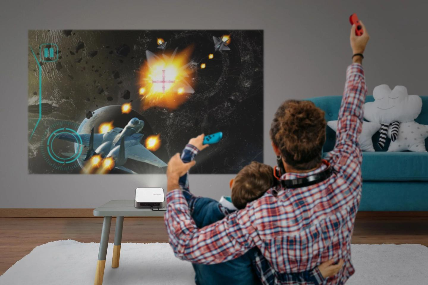 Whether it's game night or movie night, the M2e smart projector offers easy setup thanks to quick autofocus and auto keystone correction