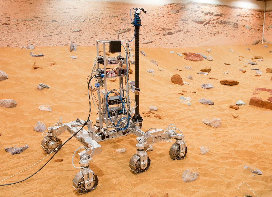 The ExoMars rover prototype being put through its paces (Photo: Airbus Defence and Space 2014)
