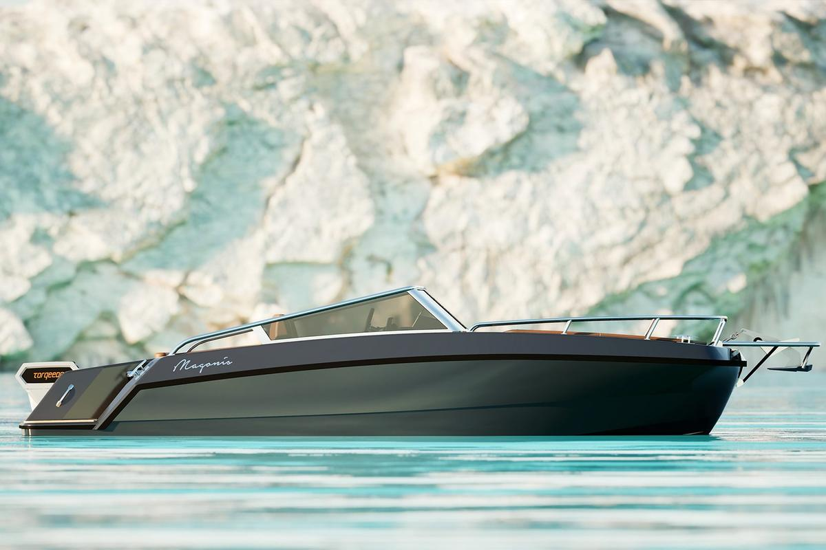 Magonis' debut craft is a small, sleek electric boat with a customizable personality