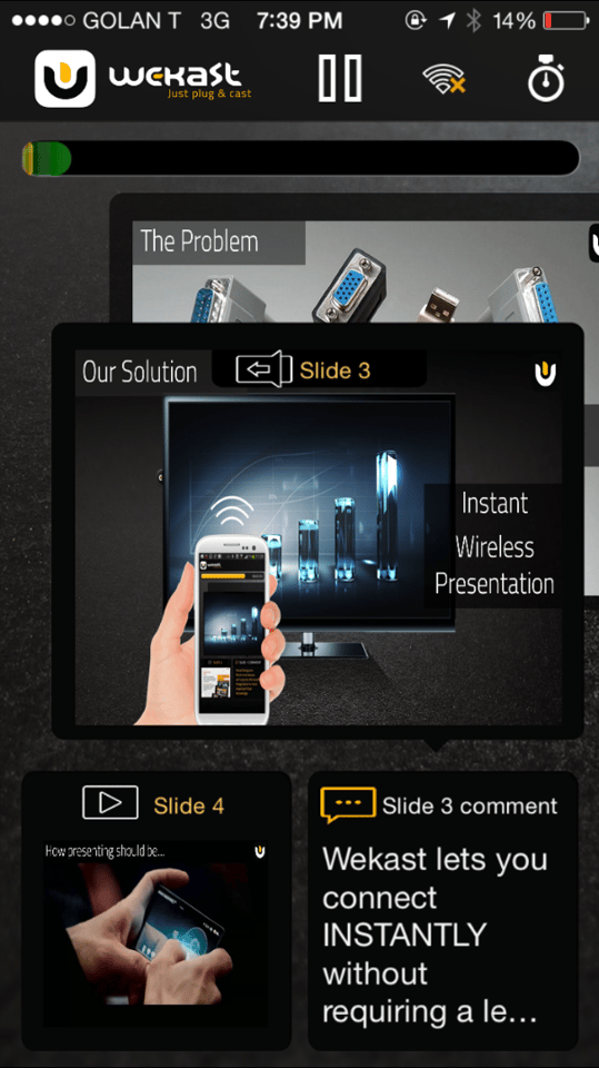 The WeKast mobile app handles the launch and remote control of content to be presented
