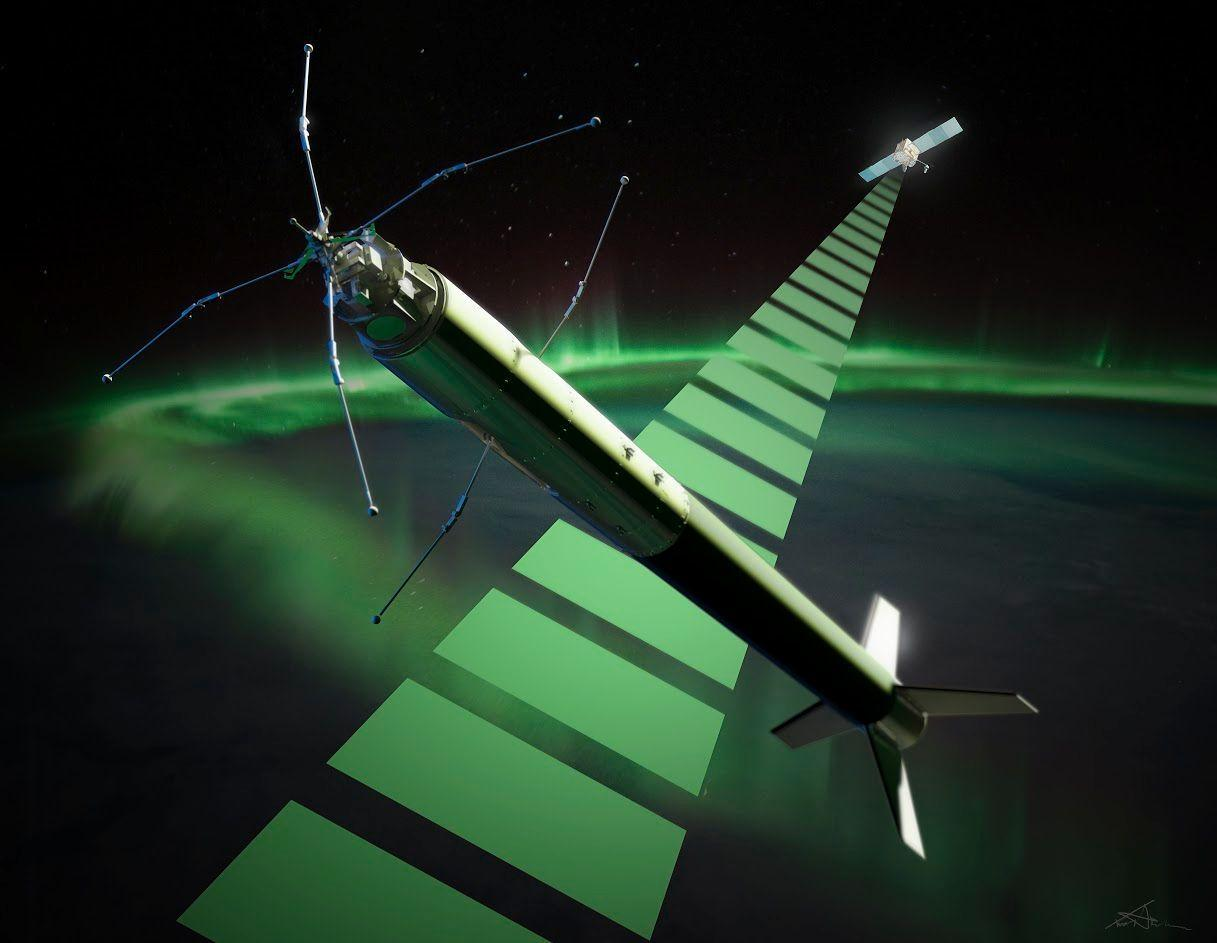 An artist's depiction of the ICI-4 in space above the northern lights