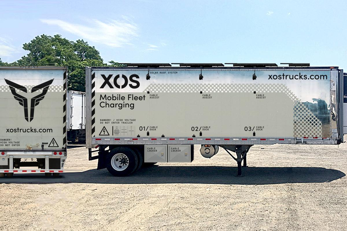 The Xos Hub mobile charging station can charge up to five electric fleet vehicles at the same time