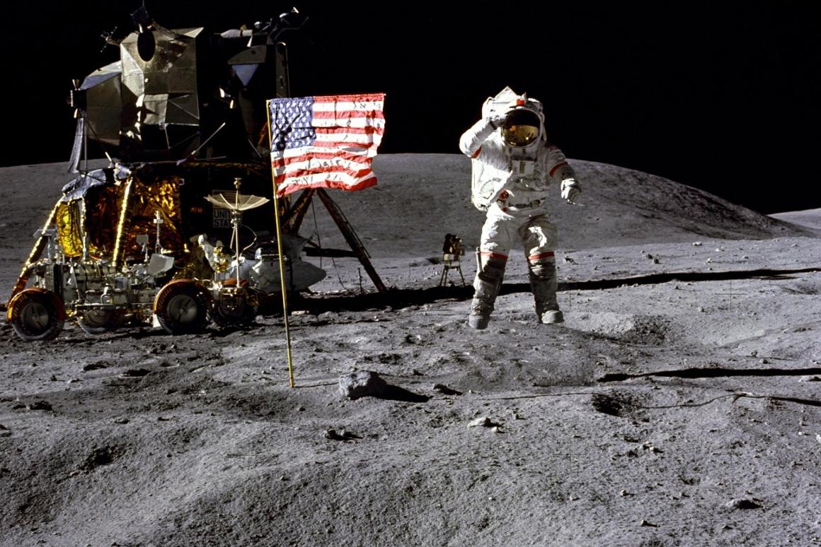 John Young on the Moon during Apollo 16