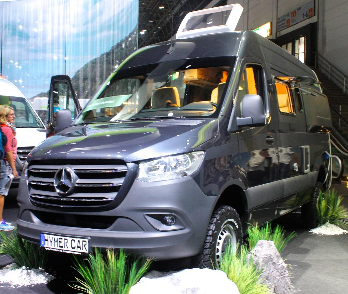Hymer shows a Hymercar Grand Canyon S off-road show vehicle to highlight the new Sprinter's upcoming AWD option