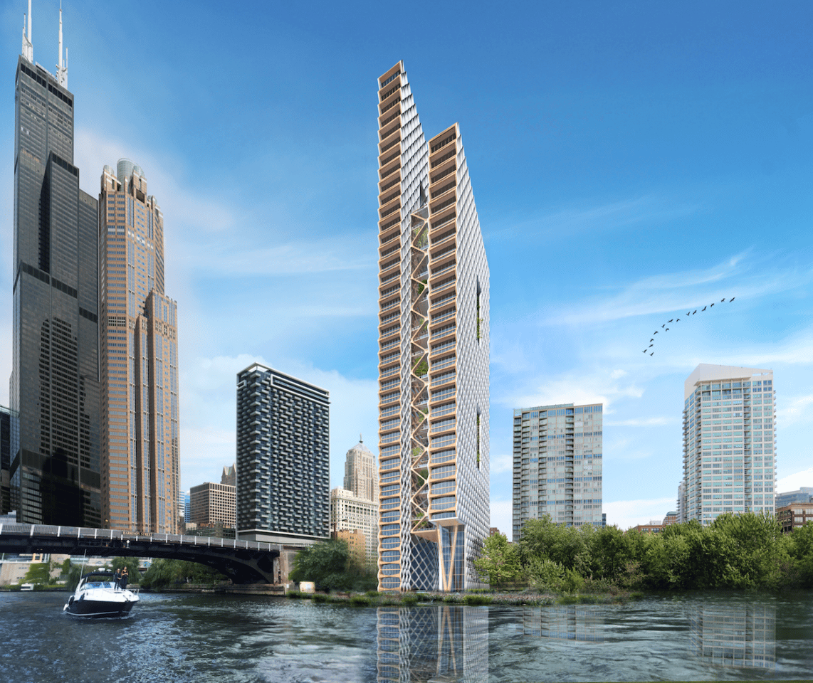 The River Beech Tower proposal isa collaboration between Perkins+Will, Thornton Tomasetti, and the University of Cambridge