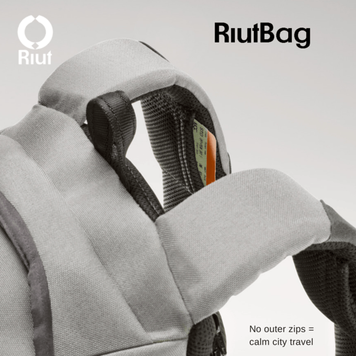 The RiutBag features straps with small pockets for storing travel tickets or boarding passes