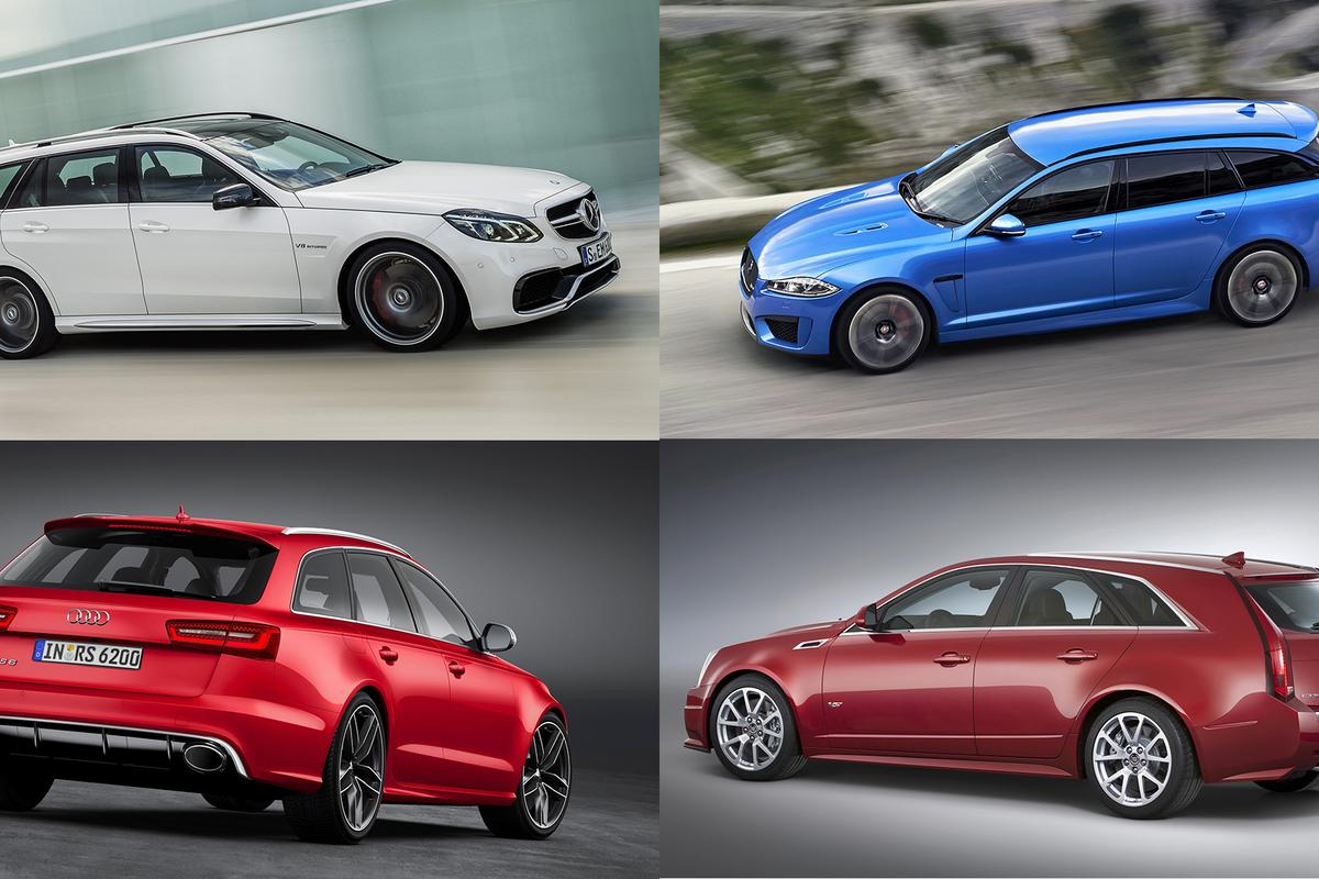 Clockwise from top left: the 550 hp Mercedes Benz AMG E63 S Wagon, the new Jaguar XFR-S Sportbrake, the 556 hp Cadillac CTS-V, and the 560 hp Audi RS 6 Avant