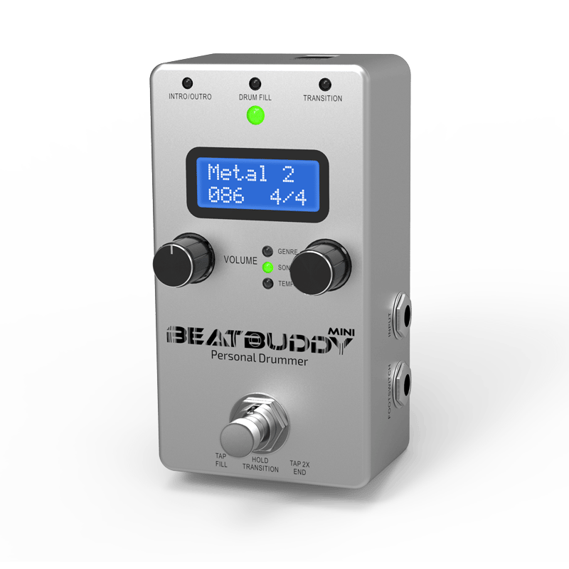Two knobs and one foot button do all the work on the BeatBuddy Mini
