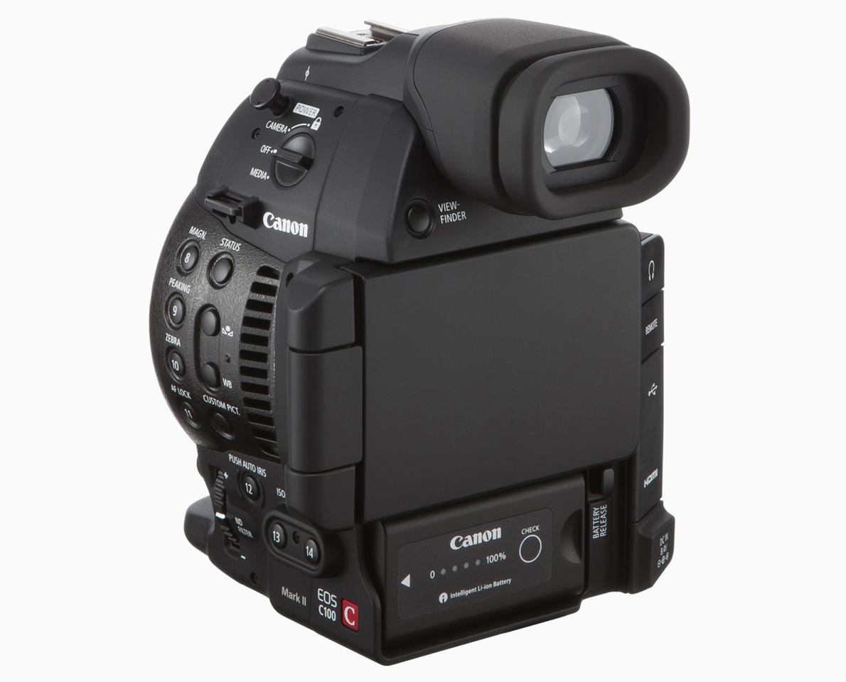 The monitor on the Canon C100 Mark II can be flipped to protect the screen in transit