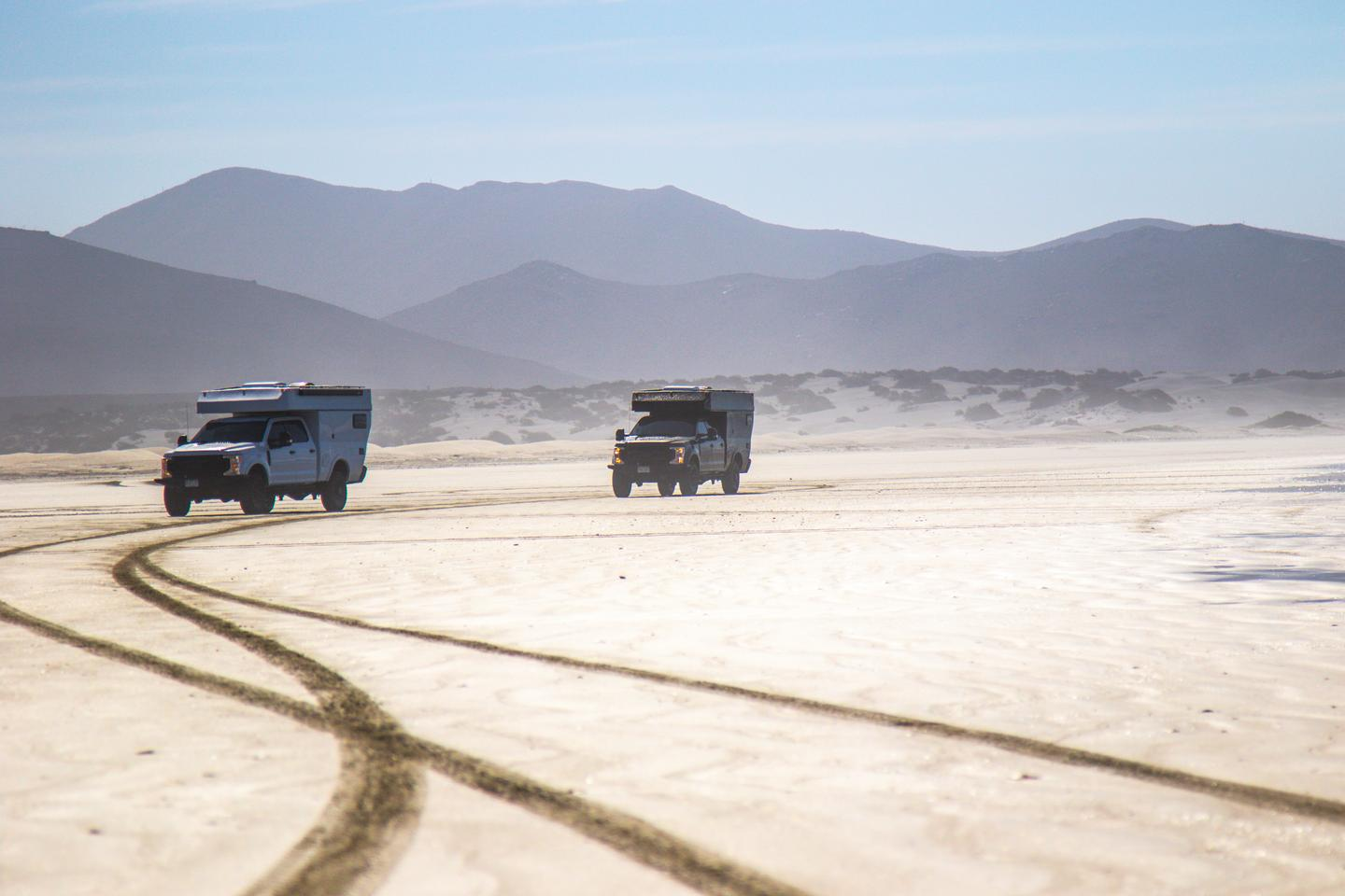 Two Rossmönster Baja trucks make their own vacation