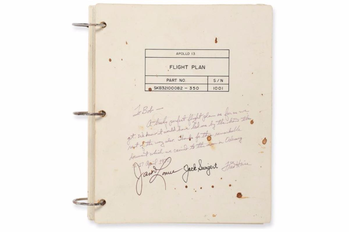 The flight plan was signed by the crew of Apollo 13
