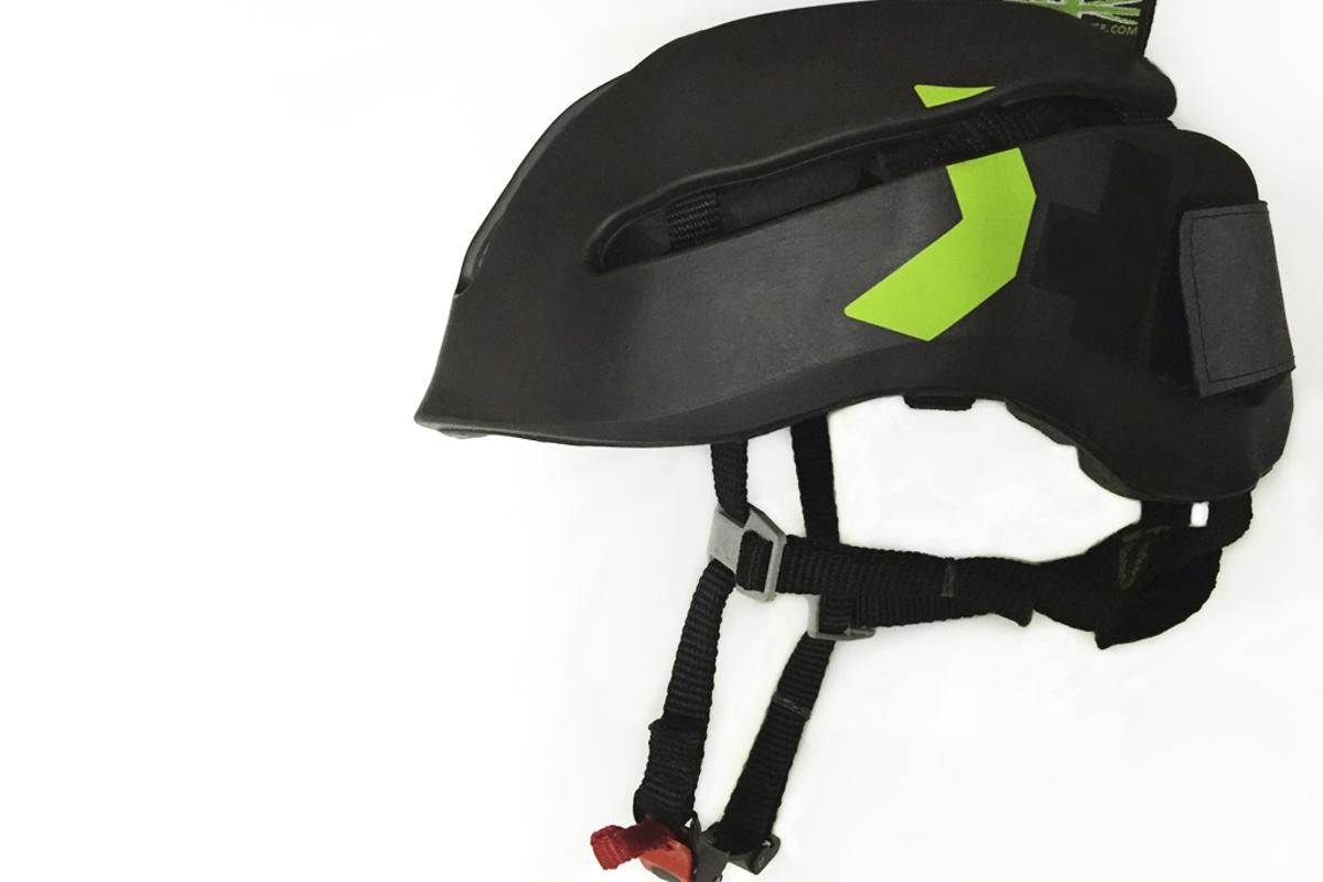 The Headkayse helmet folds for storage, and doesn't break under impact