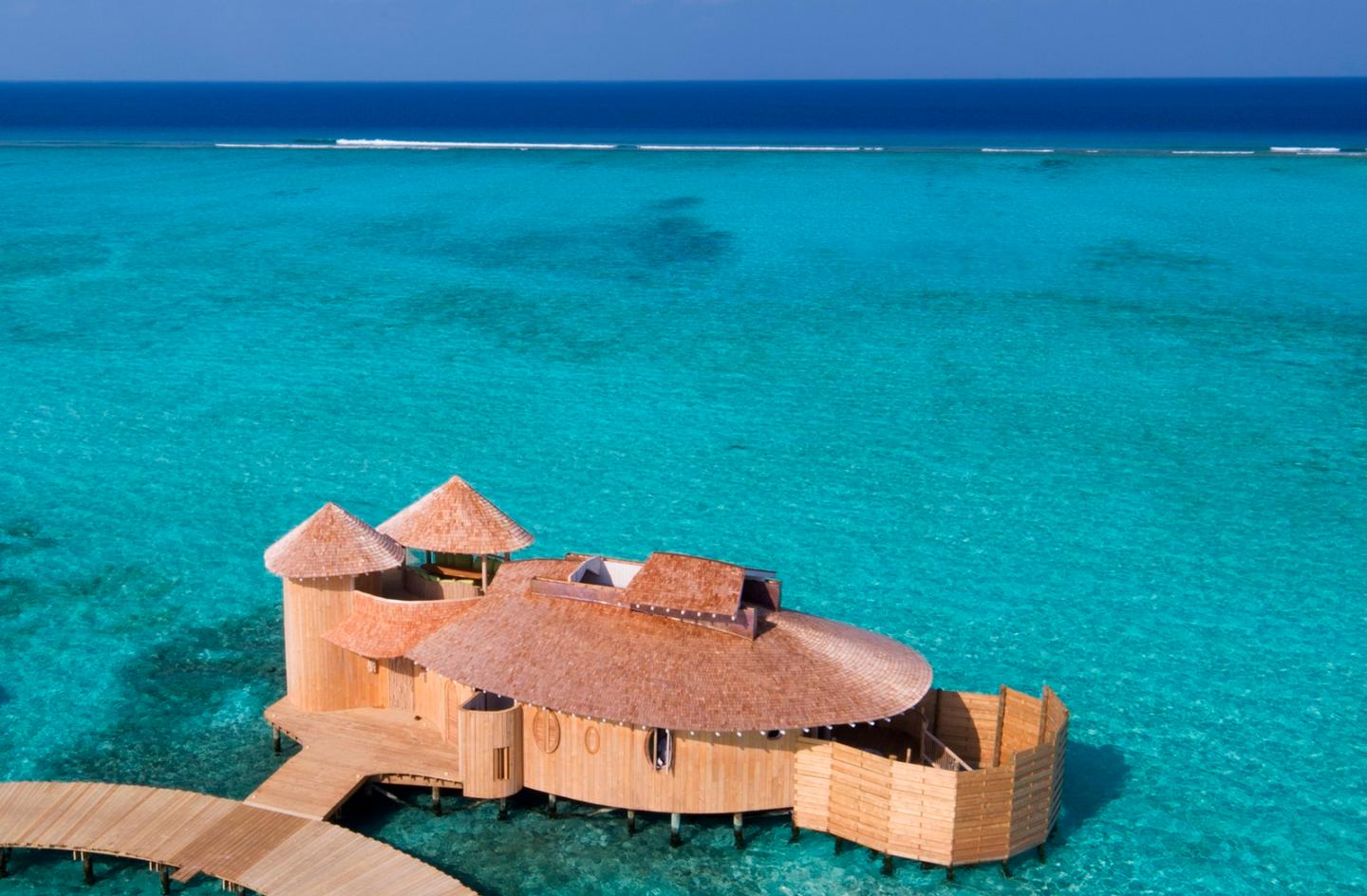 The idea for theretractable roofs came about when it emerged that guests at another Soneva resort were taking pillows out of their villas to sleep under the stars