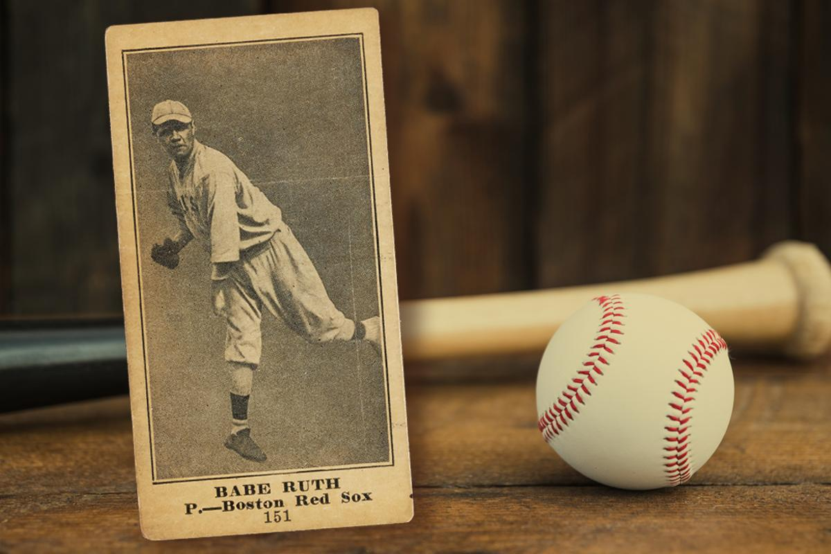 This 1916 (M101-4) Babe Ruth blank back card shows Ruth as a left-handed pitcher for the Red Sox