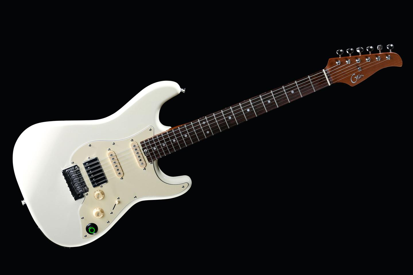 The Strat-shaped 800 Series guitar features alnico pickups and a digital circuit