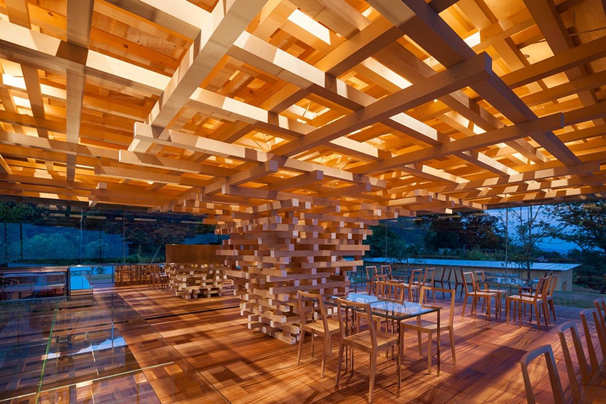 """The Coeda House café takes its design cues from a tree, and uses a stack ofcedar blocks as its """"trunk"""""""
