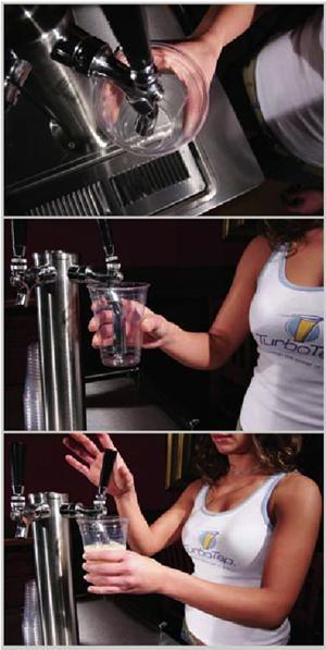 The TurboTap combats gravity as the nozzle tapers in diameter ensuring the beer remains in contact with the nozzle walls throughout its entire journey from tap to container, helping to combat the effects of gravity with viscous forces. The turbo tap also