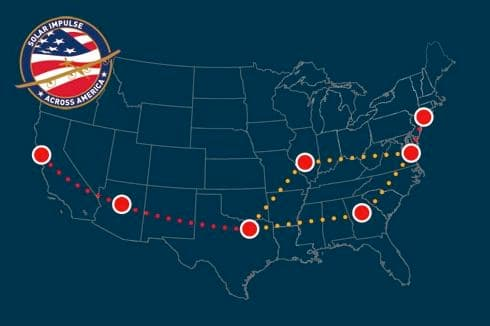 The planned route of the Solar Impulse Across America mission