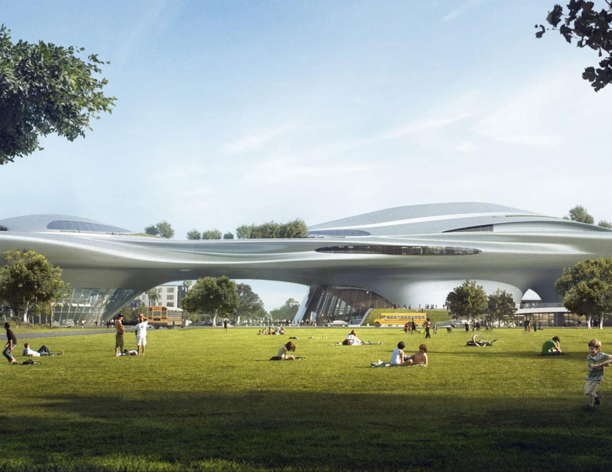 The original design for the Lucas Museum of Narrative Art has thankfully been altered from a rather awkward silver volcano-like structure to a sleeker alternative