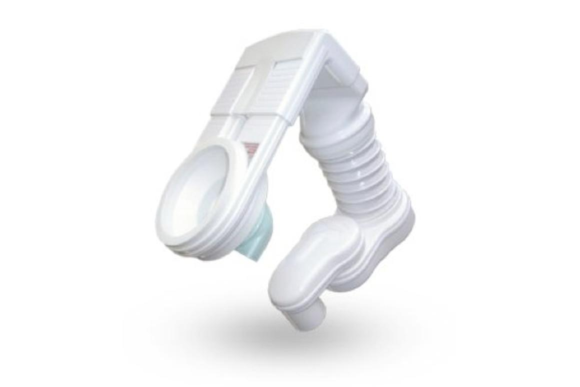 The Odourbuster mounts on an existing toilet, and uses a fan to draw odors down into the soil pipe