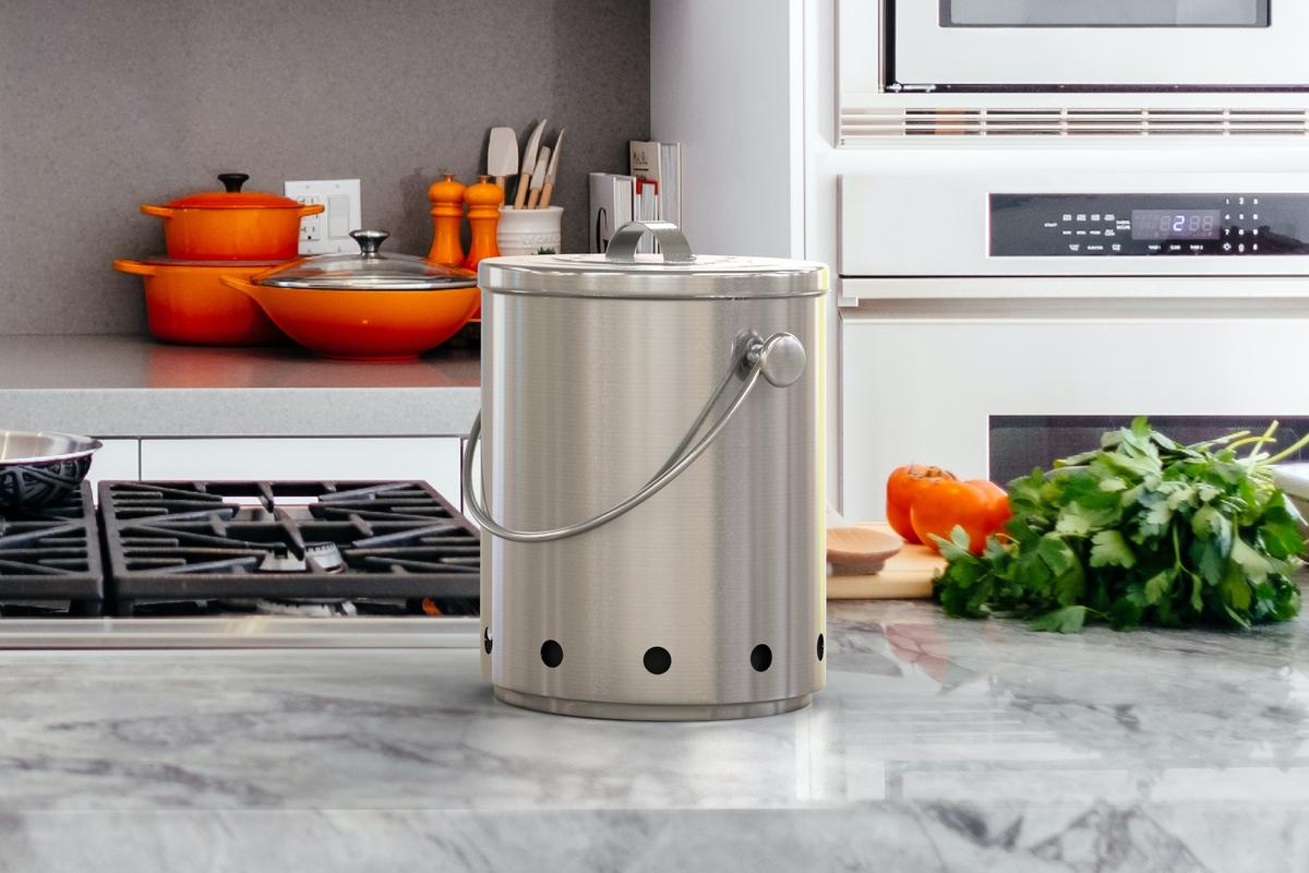 Kamaro Products' stainless steel compost bin is the perfect addition to any kitchen