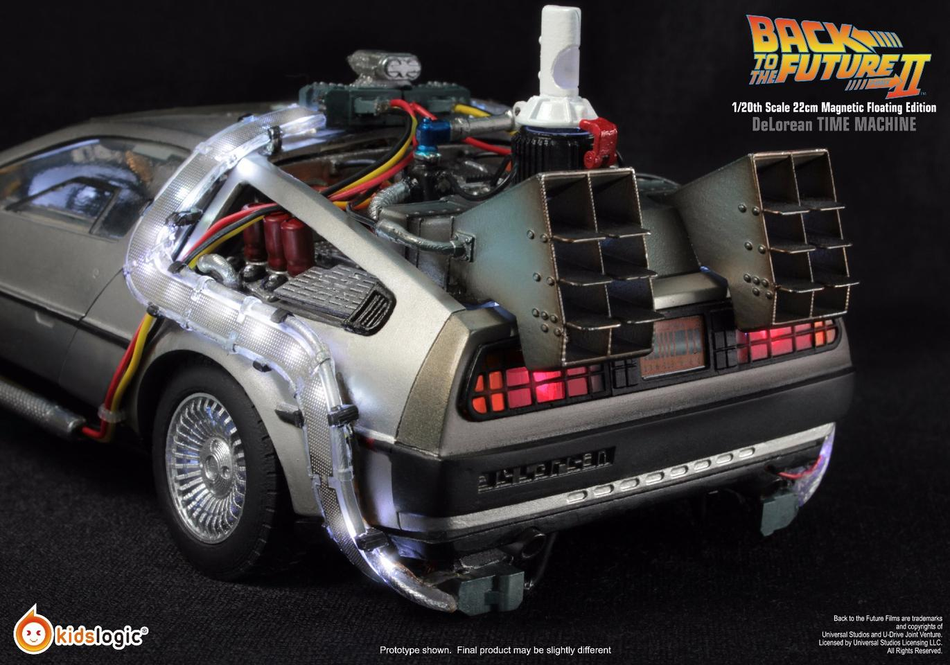 A rear view of the scale model replica of the Back the the Future II hovering DeLorean