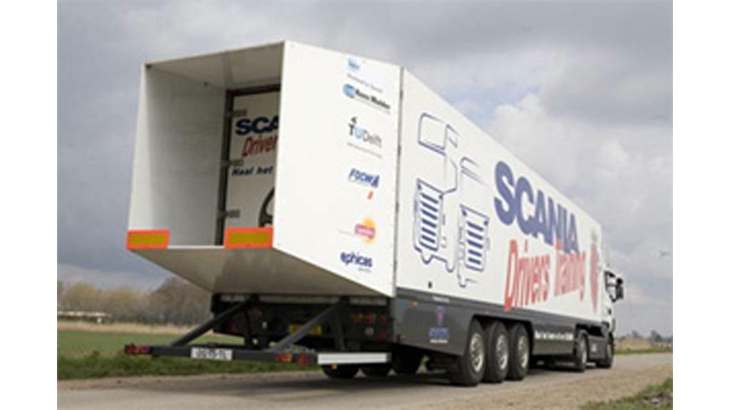 The boat tail mounted on the rear of the test truck
