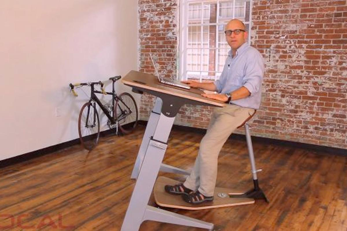 Designer Martin Keen, with his Locus semi-standing work station