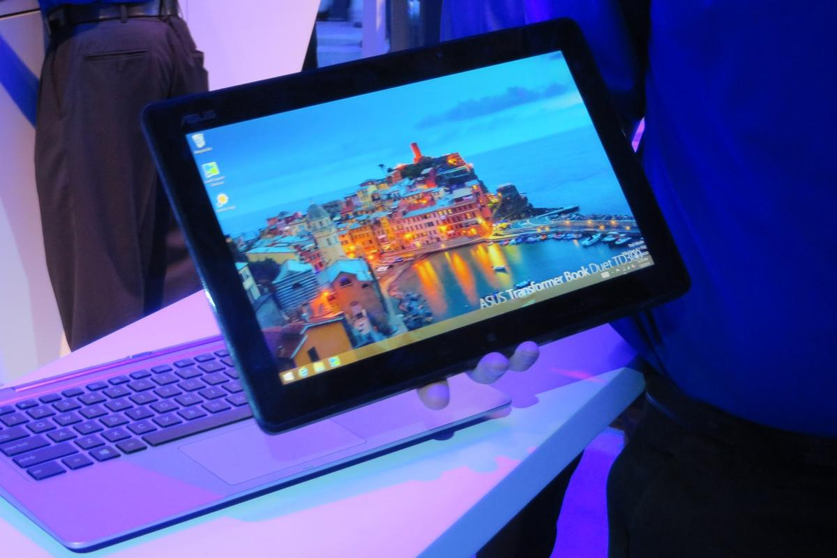 The Transformer Book Duet is a large tablet with a docking station that adds a 1 TB hard drive