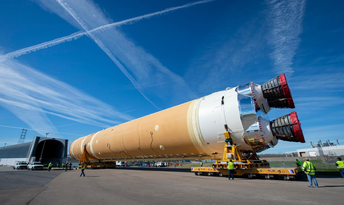 The Boeing-built core stage of NASA's first Space Launch System (SLS) deep space exploration rocket arrives at the agency's Pegasus barge