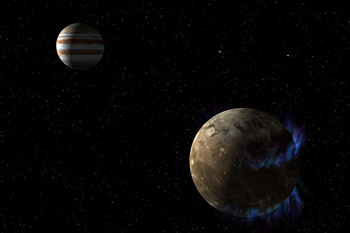 Artist's concept of aurorae and Ganymede (Image: NASA, ESA, and G. Bacon (STScI))