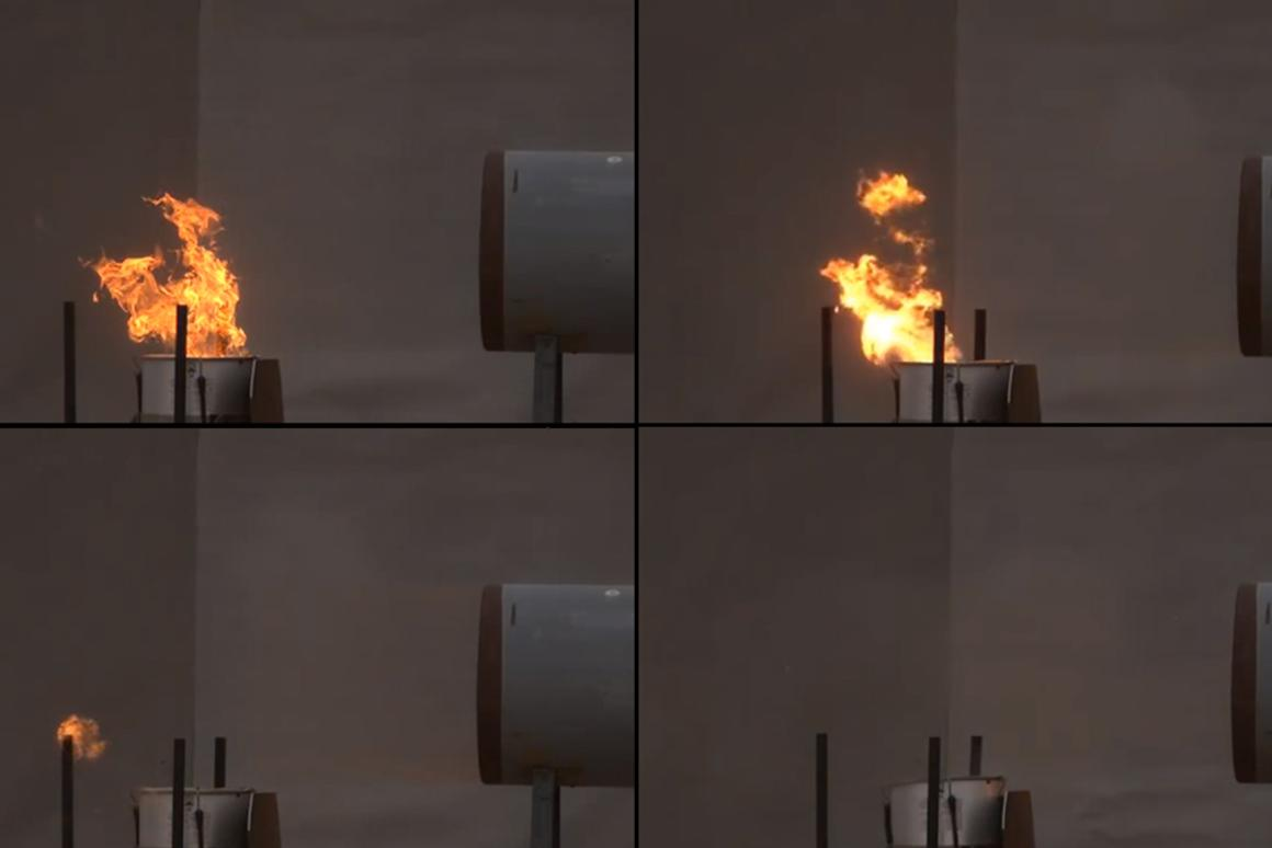 A flame is blown off its fuel source with a blast of air from explosives